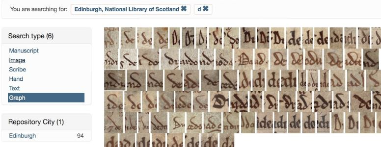 "Search results for allograph ""d"" in charters from the National Library of Scotland"
